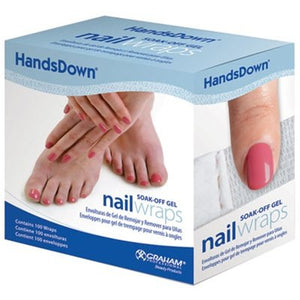 Box of HandsDown Gel Polish Remover Wraps 100ct