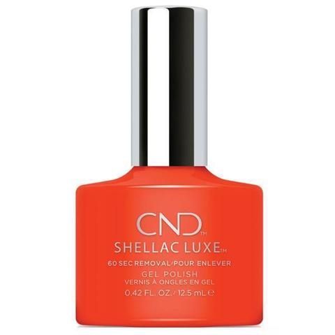 Bottle of Shellac Luxe Electric Orange Color Coat