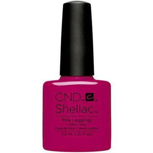 Bottle of Shellac Color Coat Pink Leggings