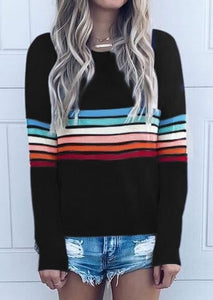 Striped  Long Sleeve  Colorful Striped T-Shirt - Swanky Danes