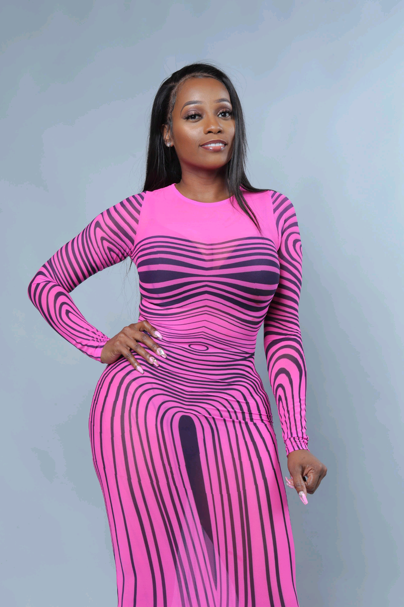20aed9c8792 Kim K Neon Pink Stripe Transparent Bodycon Dress - A  LA  POSH Clothing