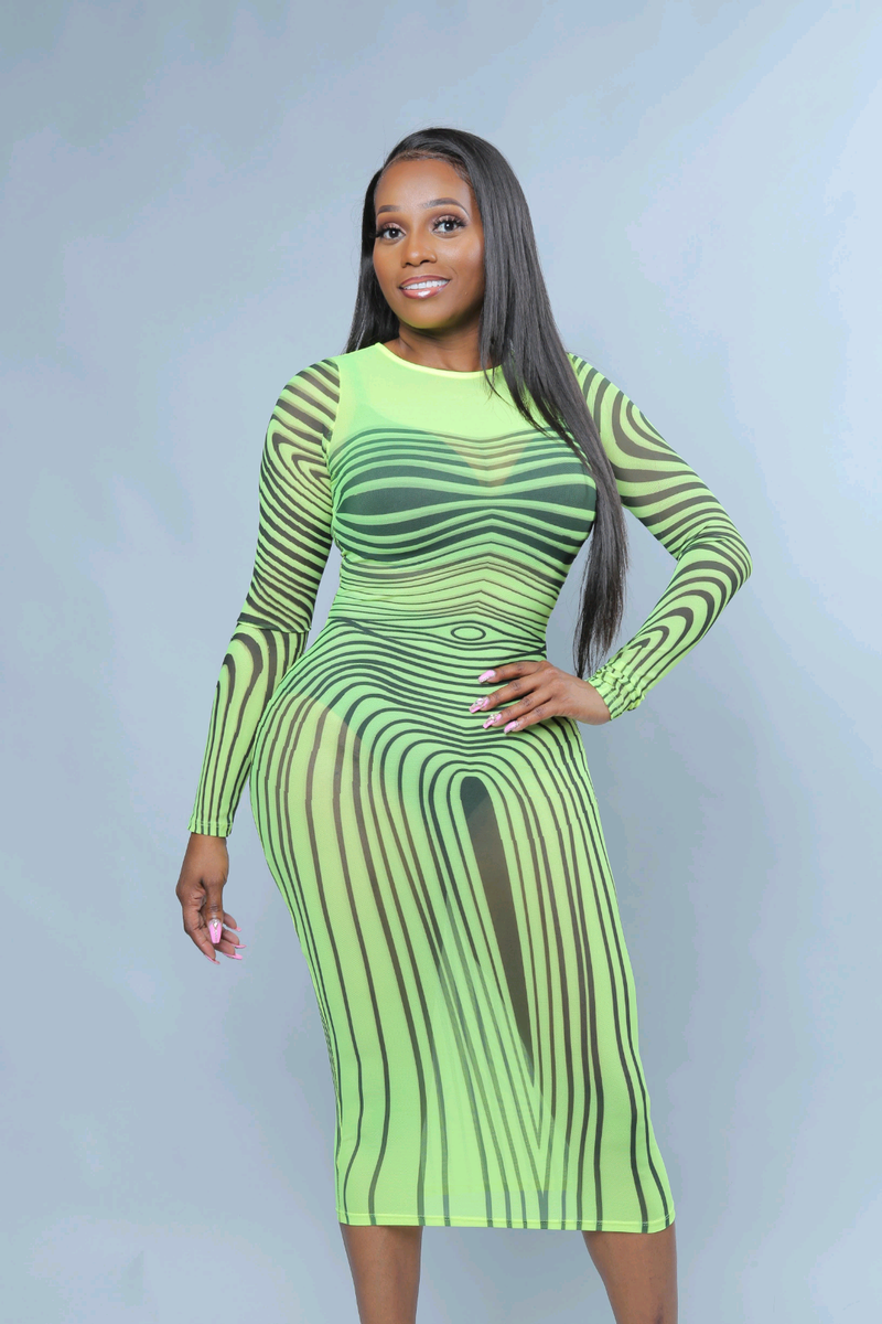 ae9d0544bf8 Kim K Neon Green Stripe Transparent Bodycon Dress - A  LA  POSH Clothing