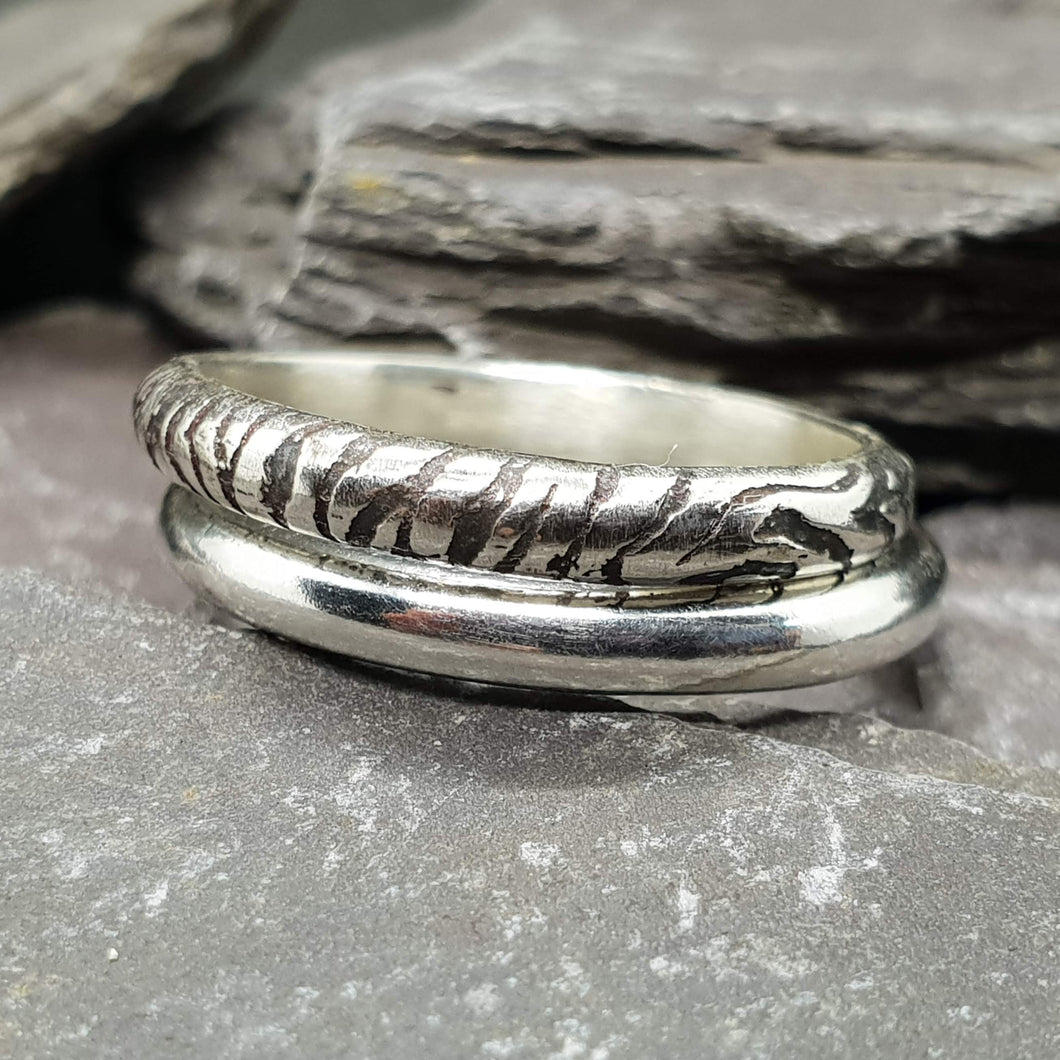 Zebra print stacking ring with plain band