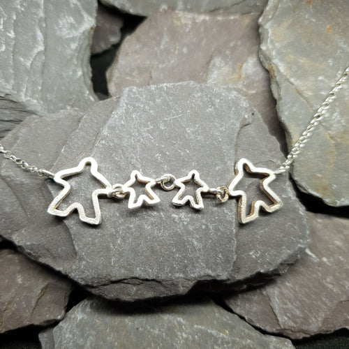 Meeple silhouette family necklace