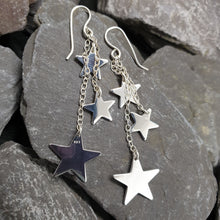 Load image into Gallery viewer, Dazzling dangly star earrings