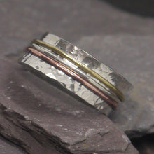 Load image into Gallery viewer, Three metal silver spinner ring