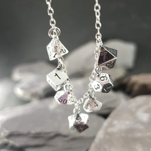 7 D&D dice necklace