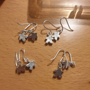 Small solid silver Meeple earrings