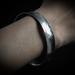 Lightly hammered silver cuff bangle