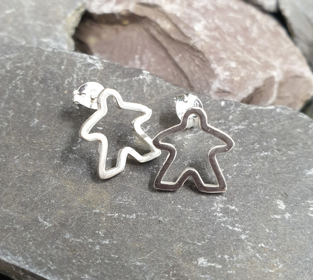 Large silhouette Meeple stud earrings