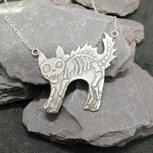 Skeletal Cat pendant
