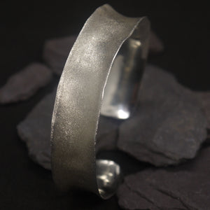 Frosted silver cuff bangle