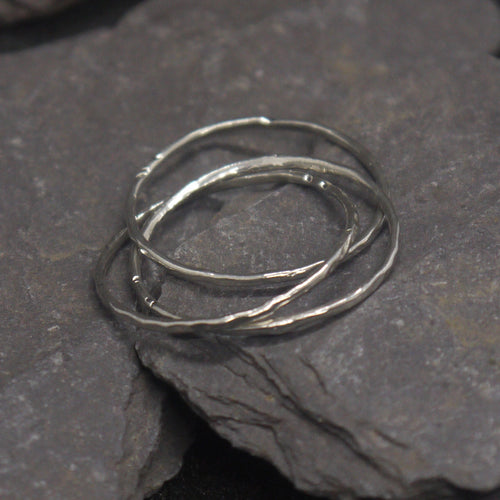 Delicate silver Russian interlocking ring
