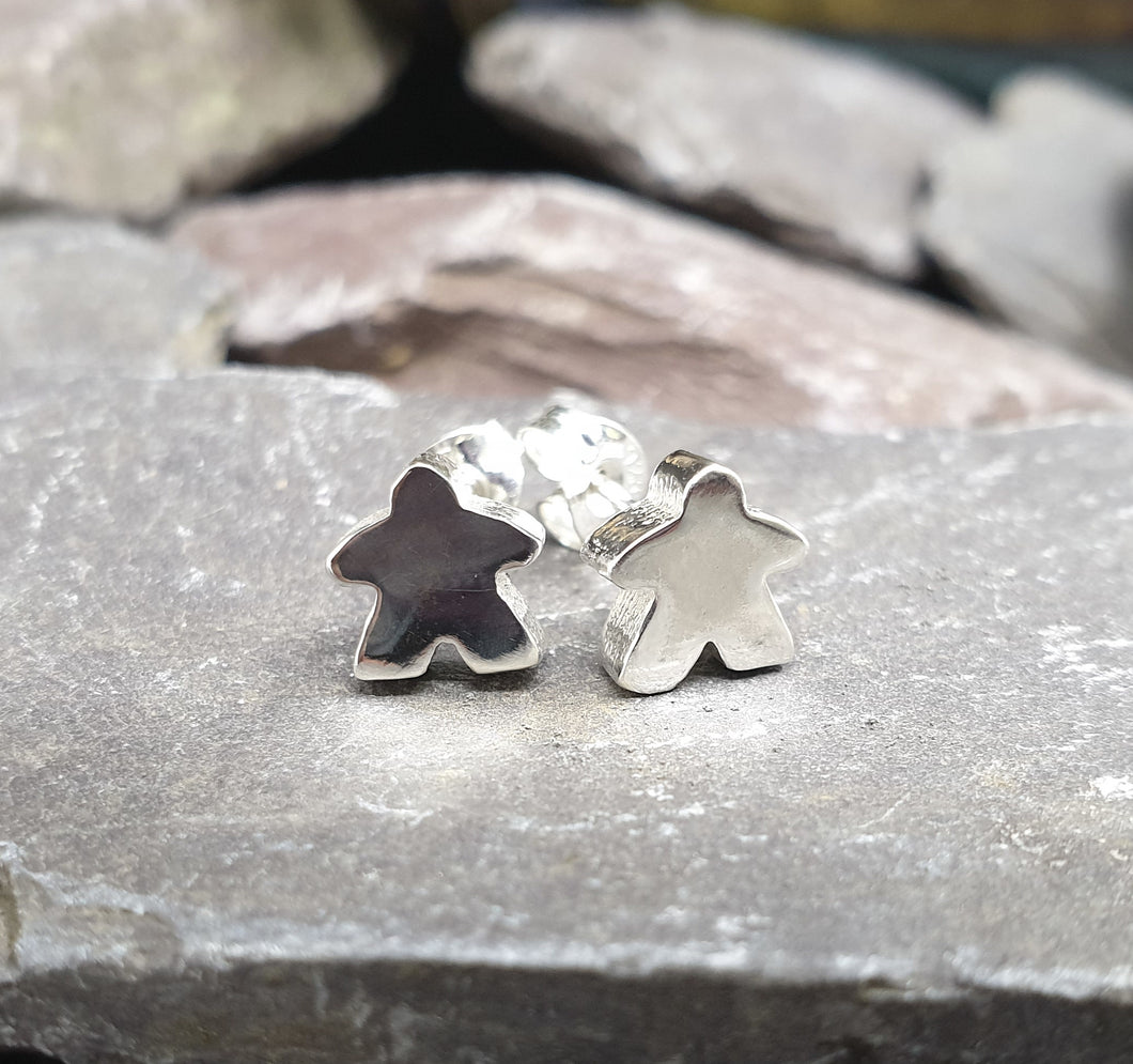 Small solid silver Meeple stud earrings