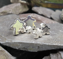 Load image into Gallery viewer, Large solid silver Meeple stud earrings
