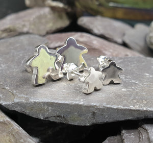 Large solid silver Meeple stud earrings