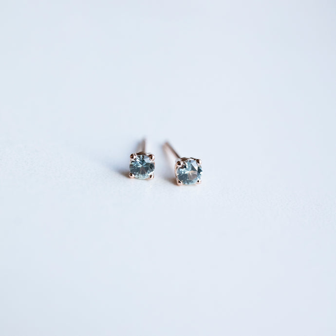 0.25 Carat Montana Sapphire Light Powder Blue Rose Gold Stud Earrings