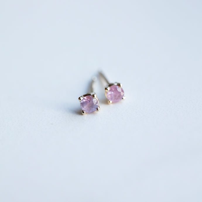 0.24 Carat Montana Sapphire Pink Yellow Gold Stud Earrings