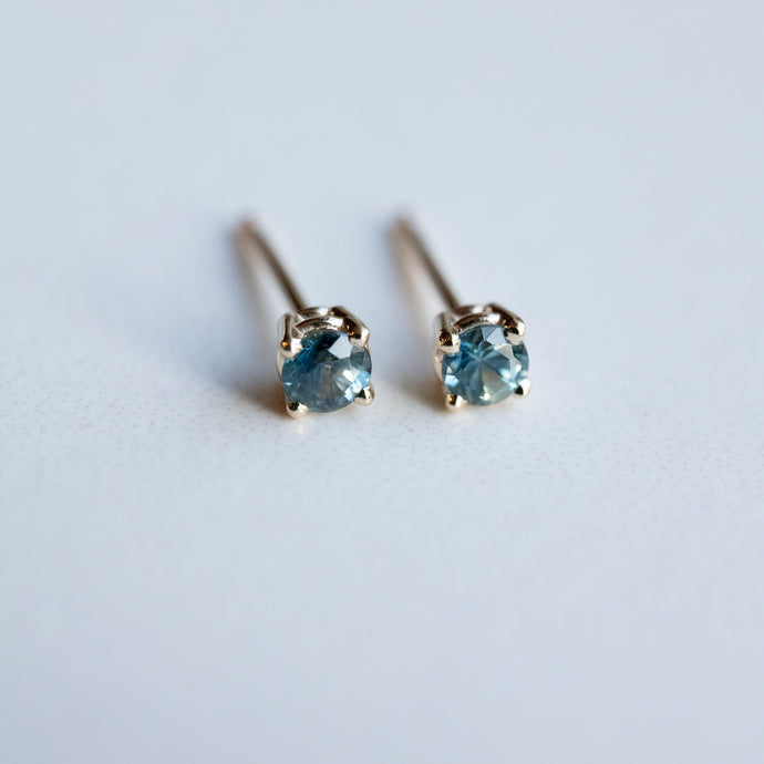 0.27 Carat Montana Sapphire Murky Teal Yellow Gold Stud Earrings