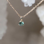 Load image into Gallery viewer, 0.30 Carat Green/Blue Montana Sapphire Yellow Gold Pendant