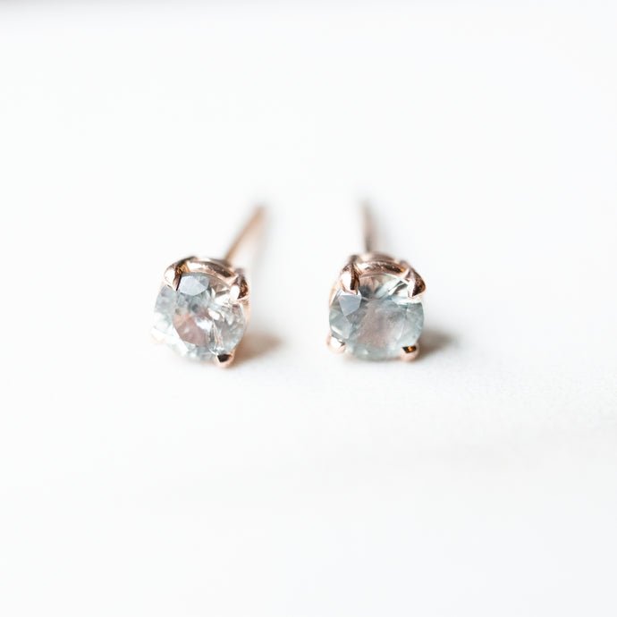 0.41 Carat Montana Sapphire Color Change Rose Gold Stud Earrings
