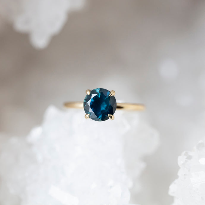 2.19 Carat Deep Teal Montana Sapphire Solitaire Ring in Yellow Gold