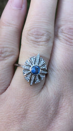 Load and play video in Gallery viewer, Zona Montana Sapphire and Diamond Starburst Engagement Ring