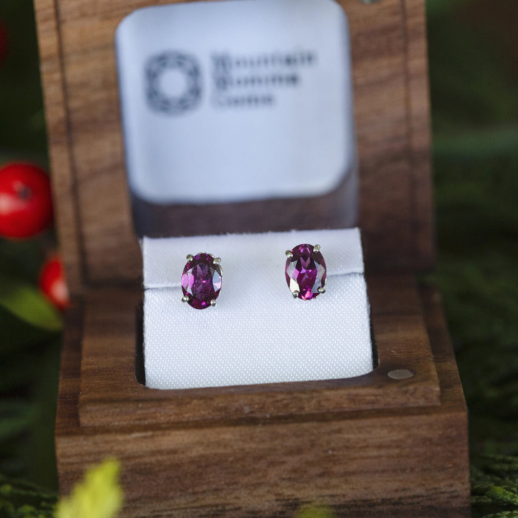 Rhodolite Garnet Earrings with Fleur De Lis Details in 14k White Gold