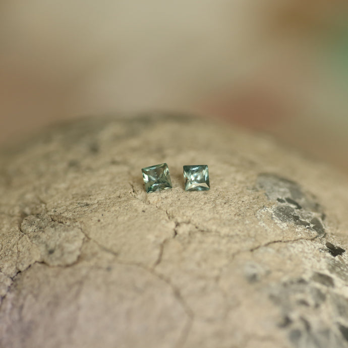 Montana Sapphire Matched Pair Dark Teal Princess 0.38 Carat