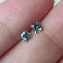 Load image into Gallery viewer, Vintage Genuine Montana Sapphire Asscher cut .50 carat total Matched Pair