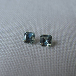 Vintage Genuine Montana Sapphire Asscher cut .50 carat total Matched Pair