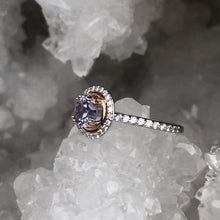 Load image into Gallery viewer, Pink and Purple Montana Sapphire and Diamond Halo Ring