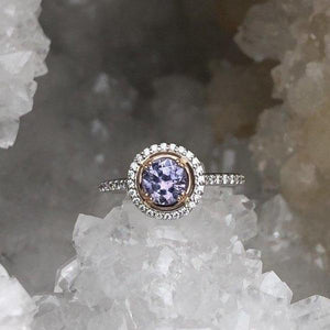 Pink and Purple Montana Sapphire and Diamond Halo Ring