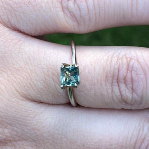 Montana Sapphire .88 carat Color Change Light Green Blue to Olive Green Princess Cut
