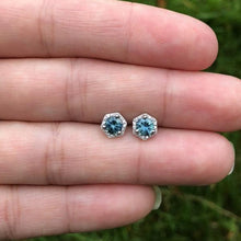 Load image into Gallery viewer, Genuine Montana Sapphire and Diamond in Recycled 14K White Gold Hexagon Halo Stud Earrings