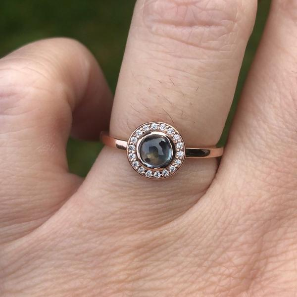 Spaceship Montana Sapphire and Diamond Halo 14k Rose Gold Engagement Ring