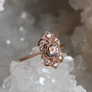 Peach Montana Sapphire and Diamond Ring in Rose Gold