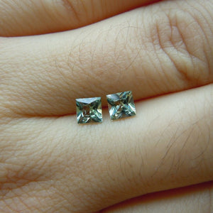 Montana Sapphires Matched Pair Green/Yellow/Blue Princess cut 1.07 ctw