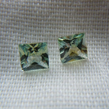 Load image into Gallery viewer, Montana Sapphires Matched Pair Green/Yellow/Blue Princess cut 1.07 ctw