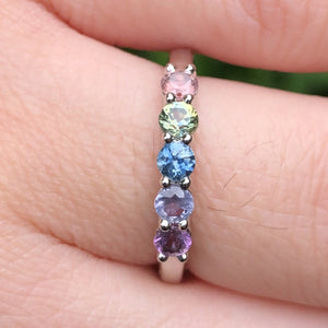 Montana Sapphire 5 Stone Rainbow Band in 14 Karat White Gold