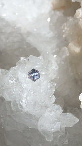 Montana Sapphire 0.535 Hexagon Cut Silver Periwinkle Lavender Lilac Peach Pink