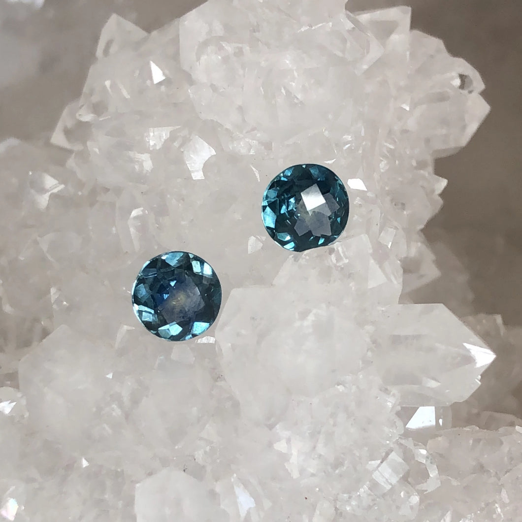 Matched Pair of Teal Montana Sapphire Checkerboard  Cut 1.63 carat total