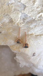 Load image into Gallery viewer, Montana Sapphire Purple/Blue .87 ctw 14k Rose Gold Double Prong Stud Earrings