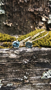 Montana Sapphire Blue Round Leaverback Earrings .60 ctw