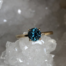 Load image into Gallery viewer, Montana Sapphire Sharaya Solitaire Teal Round 1.32 carat 14k Yellow Gold Engagement Ring
