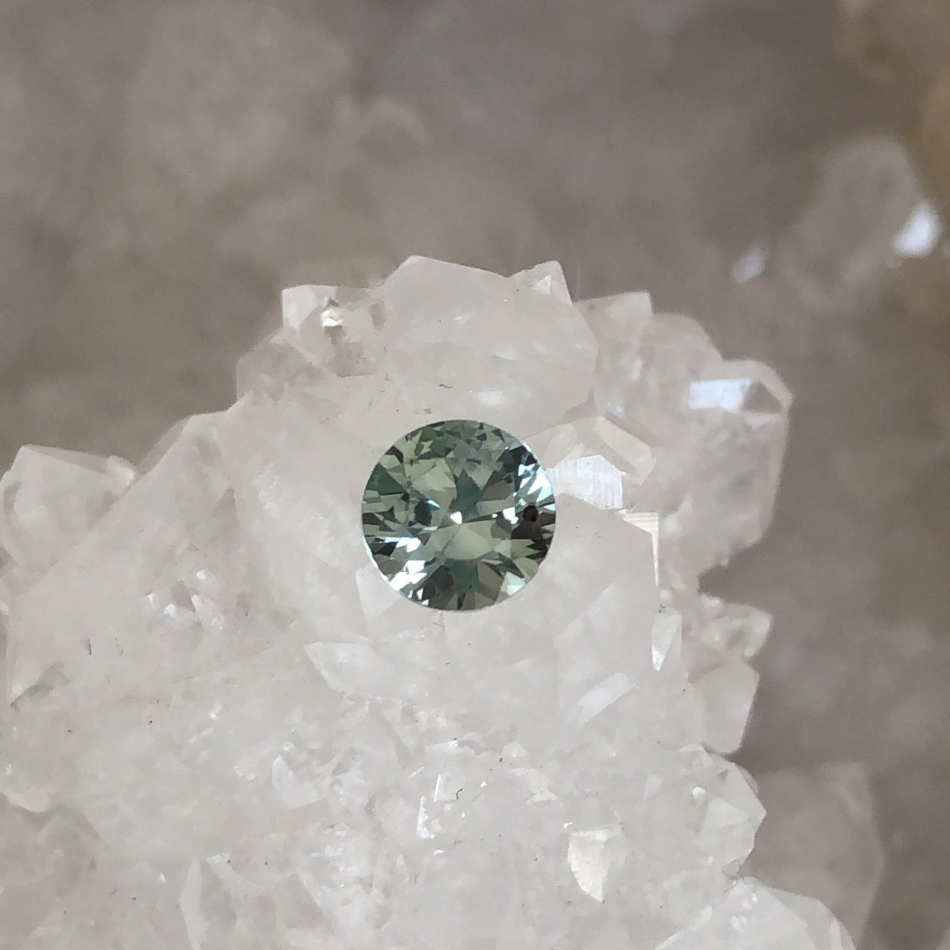 Montana Sapphire .95 Carat Light Seafoam to Gray Round Brilliant