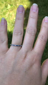 Montana Sapphire and White Sapphire .44 carat 14k White Gold Band