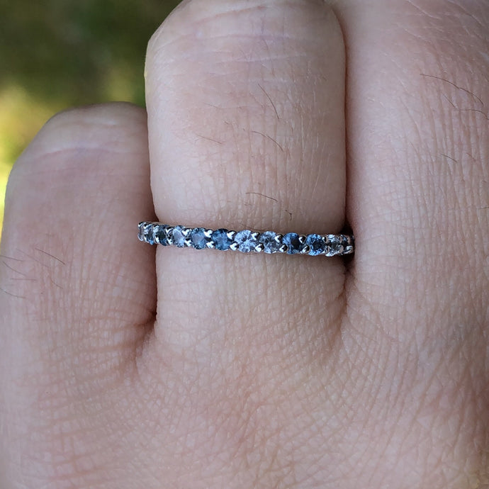 Montana Sapphire and White Sapphire .56 ctw Wedding Band