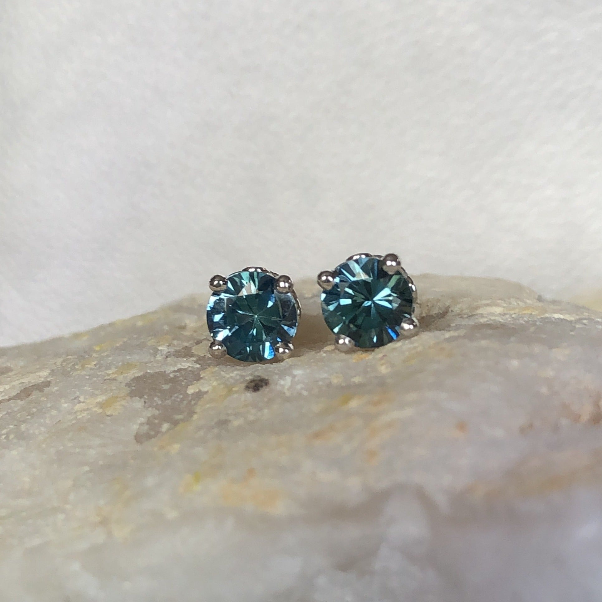 Montana Sapphire Teal .83 ctw Round Scroll Stud Earrings