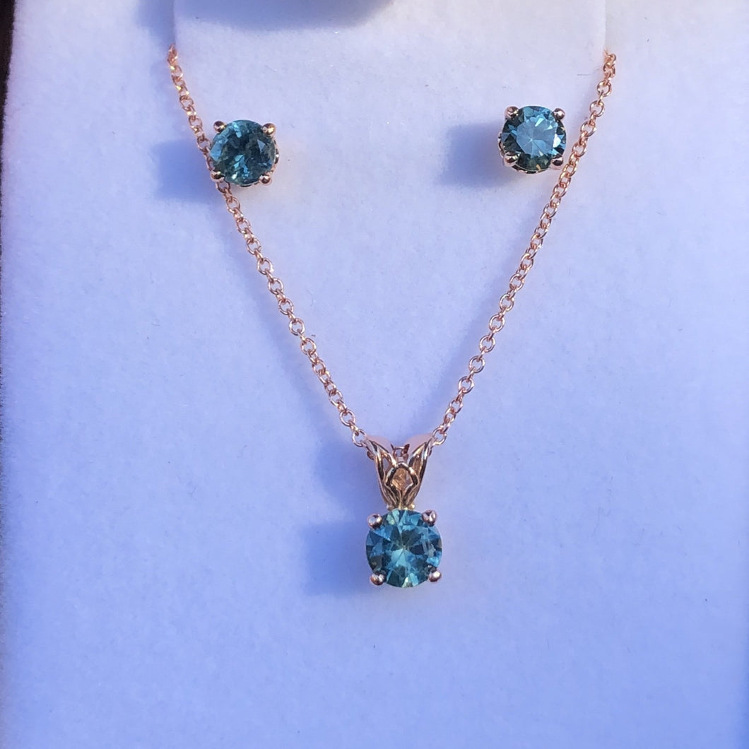 Montana Sapphire Suite Blue Green Necklace and Earrings in 14 karat Rose Gold